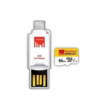 Strontium Micro SD Nitro UHS-1 with OTG Card Reader - 64GB