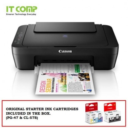 Canon PIXMA E410 Ink Efficient 3 in 1 Multifunction Printer (Print / Scan / Copy) for Low-Cost Printing - Black with RM50